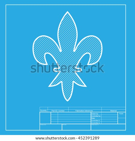 Elements for design. White section of icon on blueprint template. - stock photo