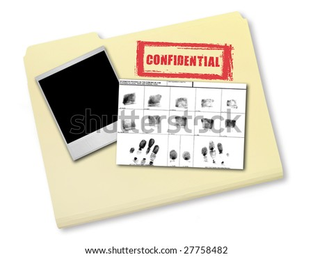 Elements of an Investigation Including FIngerprints Photo and Confidential File - stock photo