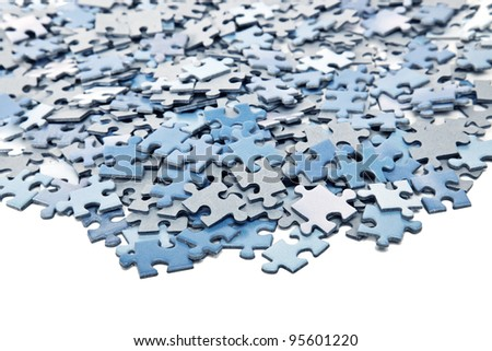 elements of blue jigsaw puzzle - stock photo