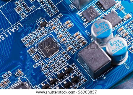 Elements of computer motherboard - stock photo