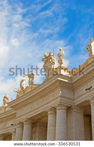 Elements of decoration of St. Peter's Basilica in Rome, Italy - stock photo