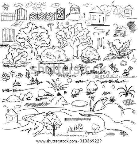 Elements of landscape in outline. Doodle sketch outdoor elements. Tree, grass, nature, bushes, leaves, flowers, houses pencil drawing in raster - stock photo