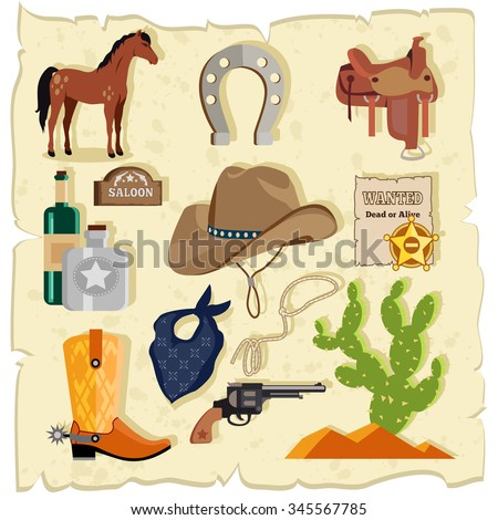Elements of the wild west cactus revolver hat. Cowboy icon,  whiskey and saddle, rope and handgun, horse and weapon, mustang and horseshoe, saloon badge illustration. Raster version - stock photo
