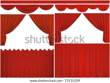 Elements of theatrical curtains isolated on a white background with clipping path. - stock photo