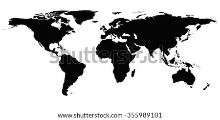 World Map Silhouette Stock Vector Shutterstock - Us map redrawn background