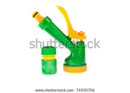 elements to your garden hose - spray - irrigation land - stock photo