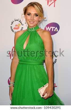 Elena Vesnina arriving for the 2012 WTA Pre-Wimbledon Party at the Roof Gardens in Kensington, London. 21/06/2012 Picture by: Steve Vas / Featureflash
