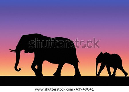Elephant and baby walking in savannah on sunset - stock photo