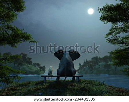elephant and dog meditate at summer night - stock photo