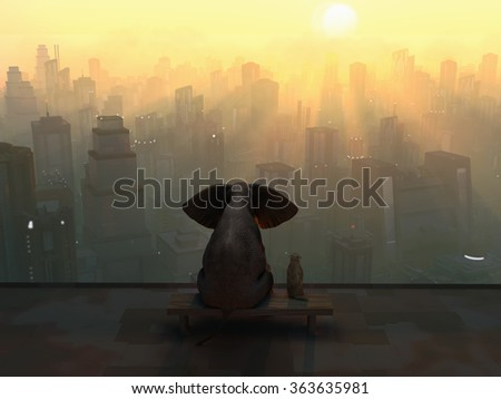 elephant and dog sit on the roof of a skyscraper - stock photo