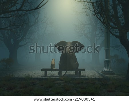 elephant and dog sitting in a gloomy park - stock photo