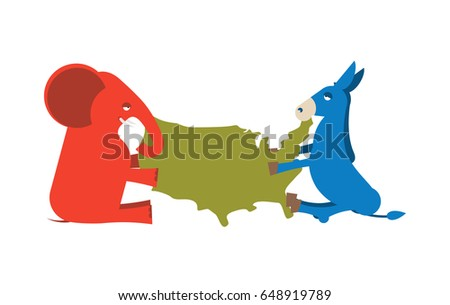 Elephant And Donkey Divided Map Of America Usa Political Party Republicans Against Democrats