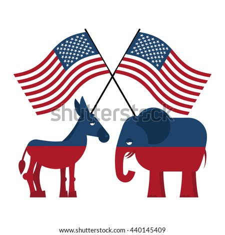 Elephant and donkey. Symbols of Democrats and Republicans. Political parties in America. USA flag