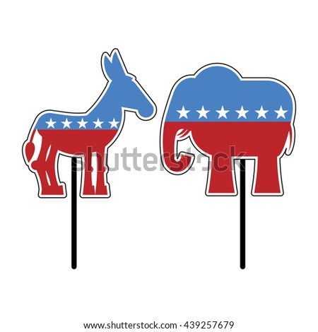 Elephant and donkey. Symbols of Democrats and Republicans. Political parties in United States. Illustration for election, debate America. USA flag - stock photo