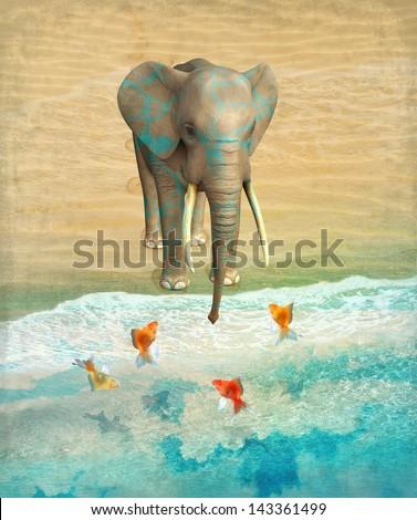 Elephant and goldfish on the shore. Illustration. - stock photo