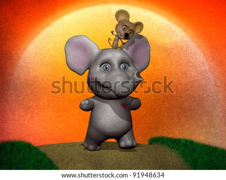 Elephant and mouse true friendship illustration - stock photo