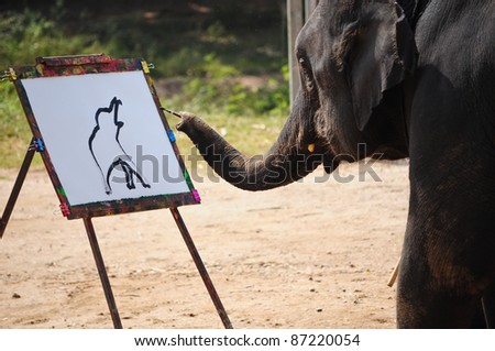 elephant and painting