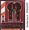 Elephant and traditional african motifs painted on rugged textile - stock photo