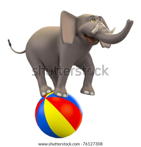 Cartoon circus elephant on ball