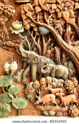 Elephant carved temple door in the countries of Thailand - stock photo