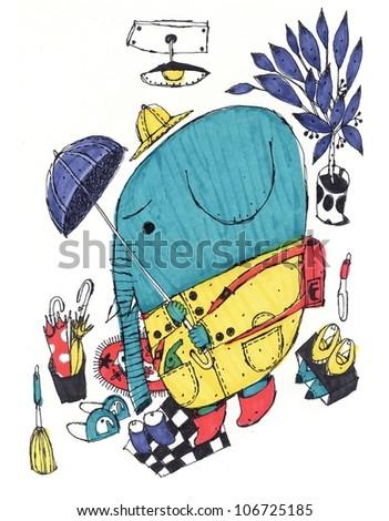 elephant child - stock photo