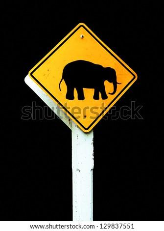 elephant crossing road sign - stock photo