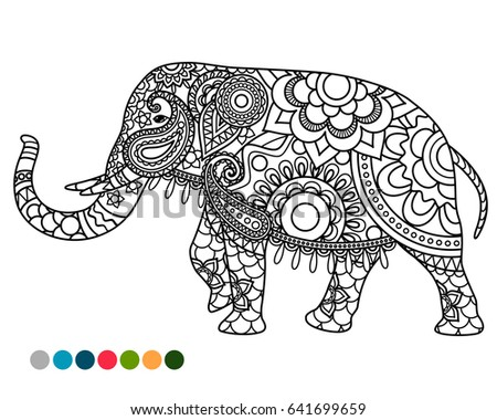 elephant decorated mandala ornament coloring page with colors samples
