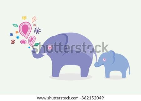 Elephant family - stock photo