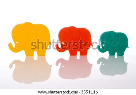 elephant family isolated over white background