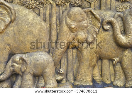 elephant family wall in thai style