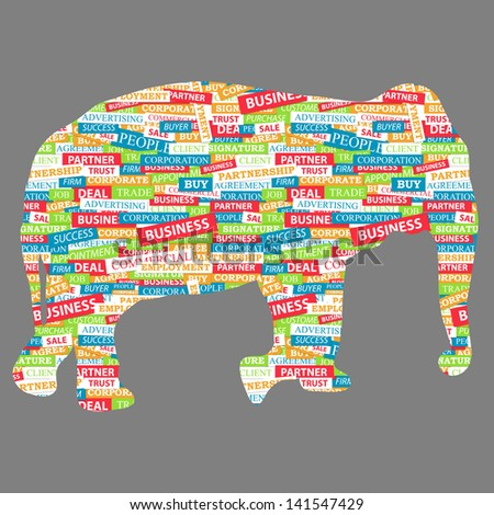 Elephant figurine, made up of words on a business topic - stock photo