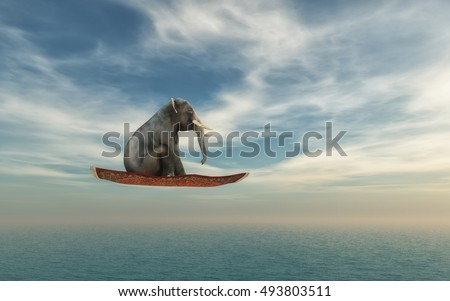 Elephant flying on a carpet over the ocean. This is a 3d render illustration