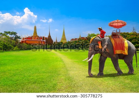 Elephant for tourists on an ride tour at the Buddhist temple of Wat Phra Kaeo at the Grand Palace in Bangkok,Thailand - stock photo