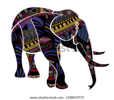 elephant from different elements in the ethnic style - stock photo