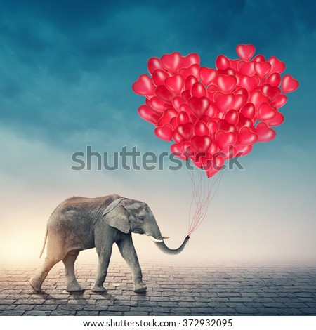 Elephant going with red balloons  - stock photo