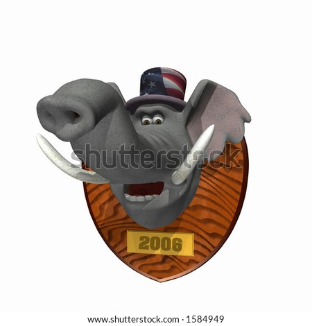 Elephant head mounted on a plaque. Republican. Political humor. - stock photo