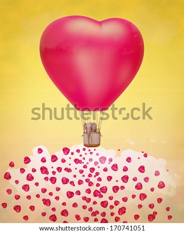 Elephant in a heart-shaped balloon in the sky. Illustration  - stock photo