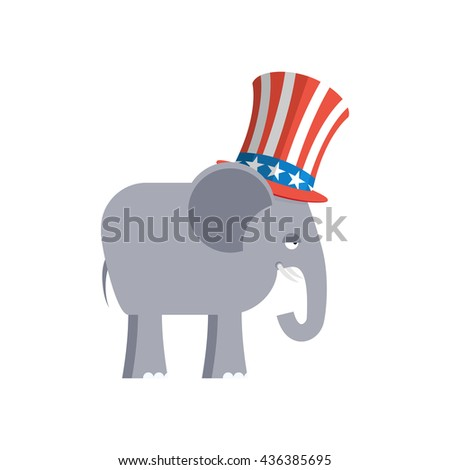 Elephant in Uncle Sam hat. Republican Elephant. Symbol of political party in America. Political illustration for elections in America - stock photo