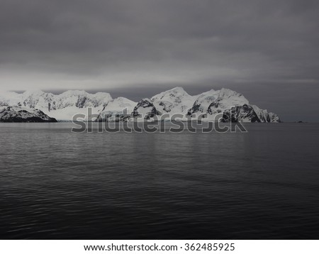 Elephant Island where Shackleton landed during his expedition in Antarctica - stock photo