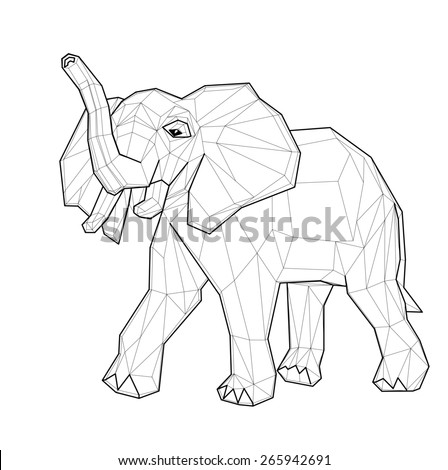 Elephant. Low polygon linear illustration - stock photo