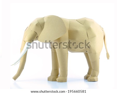 elephant made by recycled paper - stock photo