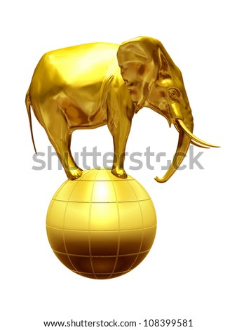 elephant on globe made of gold