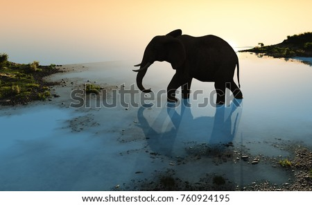 Elephant on the river on the planet.; 3d render
