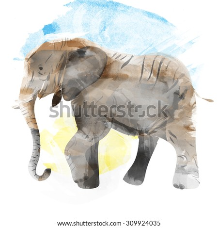 Elephant painted watercolor illustration isolated on white background