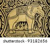 Elephant painting in tradition Thai style - stock photo
