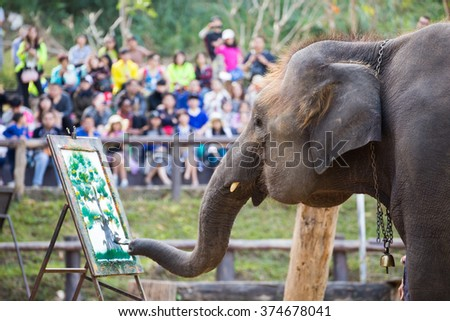 Elephant painting on paper in elephant's show, Thailand - stock photo