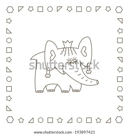 Elephant Princess Coloring Page Coloring Book Stock Illustration ...