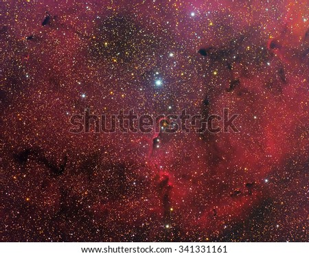 Elephant's Trunk Nebula IC1396 with Galaxy,Open Cluster,Globular Cluster, stars and space dust in the universe long expose. - stock photo