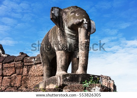 Elephant sculpture at East Mebon temple.