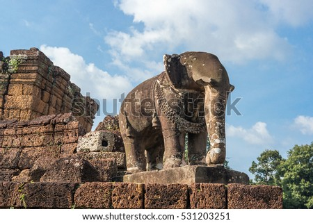 Elephant sculpture in East Mebon temple, Siem Reap, Cambodia
